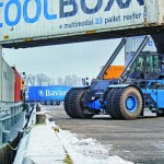 Beer is shipped in 45ft containers aboard river barges