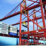 Two of CMSA's four new quay cranes servicing the Maersk Kalamata