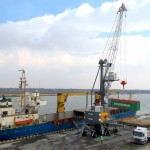 Containers are currently handled by mobile harbour crane