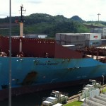 The Olivia Maersk transits the Panama Canal