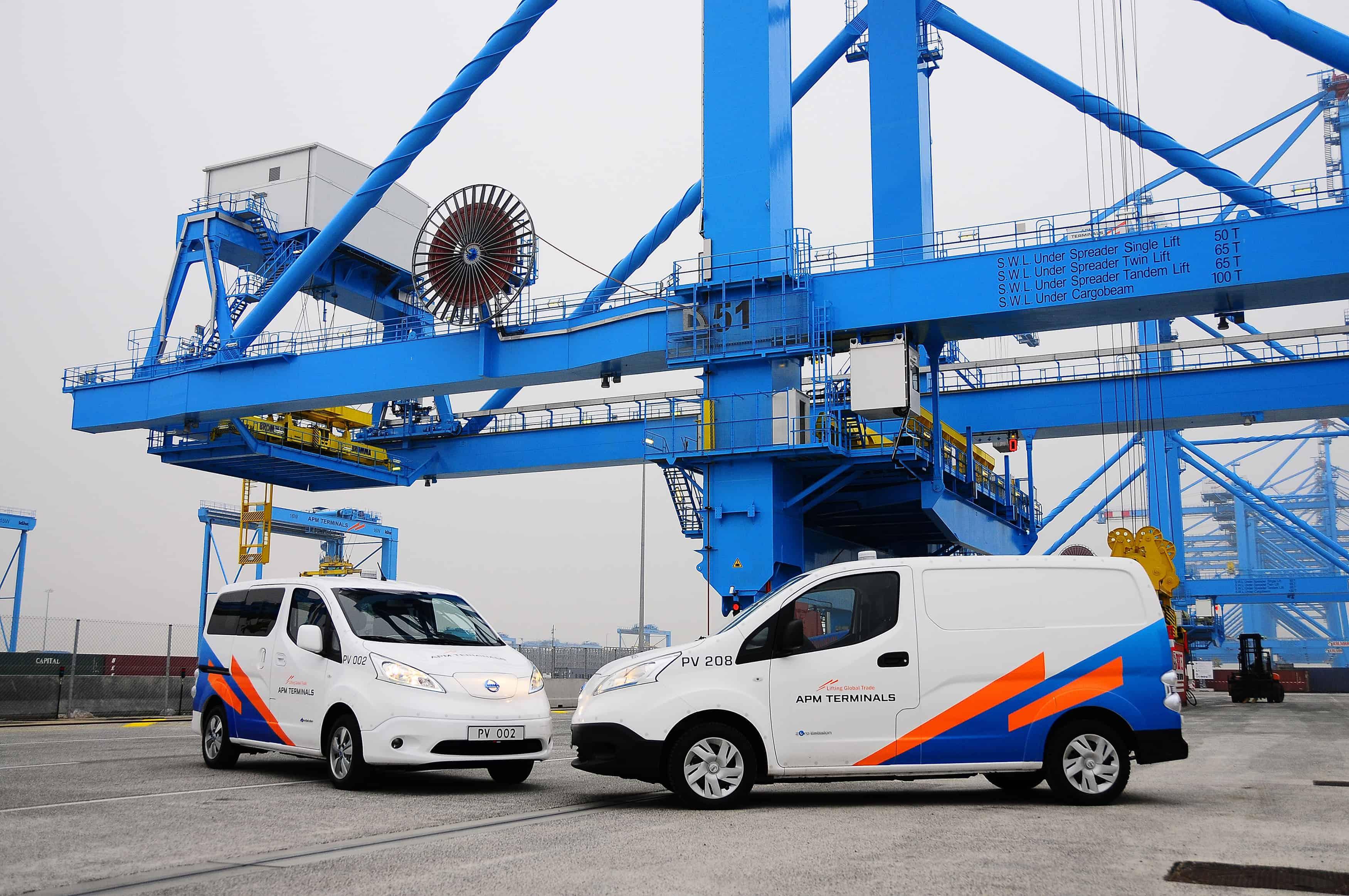 APMT's zero-emission Nissan Evalia (left) and Nissan van (right)