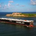 Crowley's triple deck El Morro roro barge leaving San Juan for the US