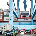 Container handling at the Maersk owned APM Terminals in Algeciras, Spain.