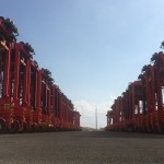 The straddle carriers in Port Botany