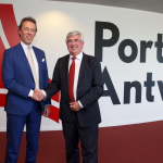 Jacques Vandermeiren (left) with outgoing CEO Eddy Bruyninckx (right)