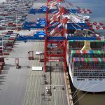 The terminal receives calls from two global shipping alliances