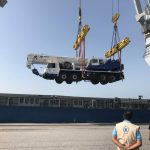 A donated truck crane arrives in Hodeidah