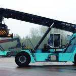 The new Konecranes SMV 4531 TB5 HLT hybrid reachstacker