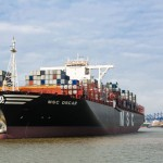 The MSC Oscar makes its maiden call at the Port of Felixstowe back in March