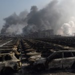 Burnt out Volkswagen cars at Tianjin port (Photo: Greg Baker/AFP/Getty Images)