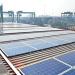The solar panel system is fully operational on two terminal structures