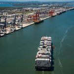 The vessel exchanged approximately 700 containers at the port
