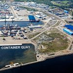 The future new container quay at the terminal