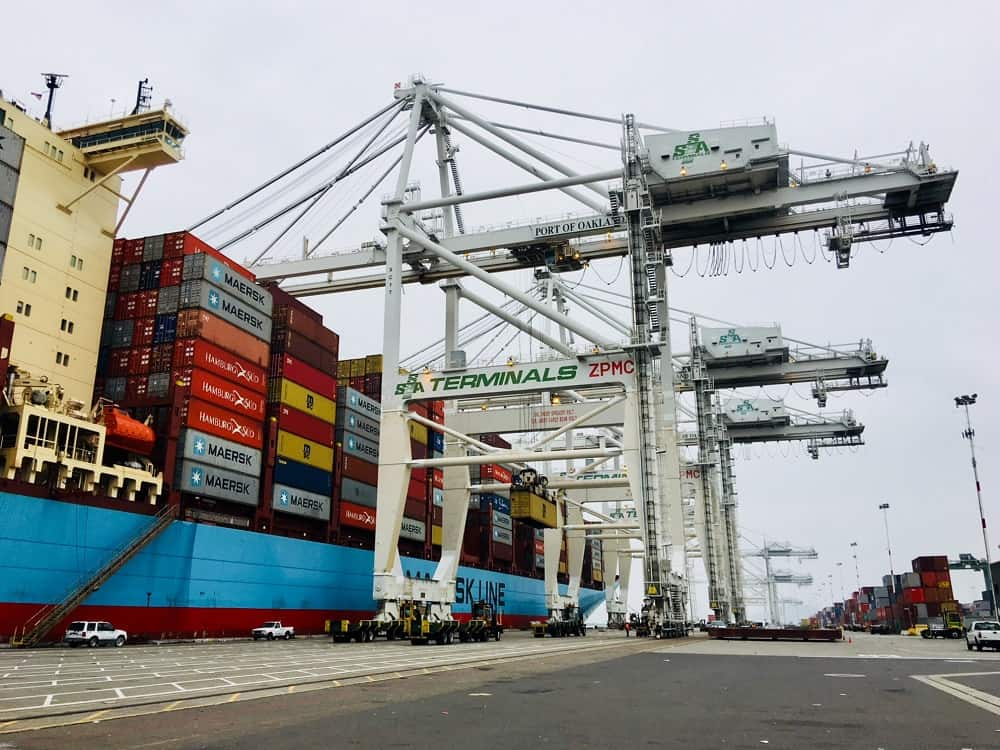 Four cranes raised at the Port of Oakland