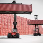 The Kalmar reachstacker (left) and empty container handler (right)