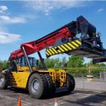 A Sany 4540 Jacked reach stacker at ABP Hams Hall