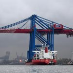 The three new cranes onboard the Zhen Hua 27 vessel